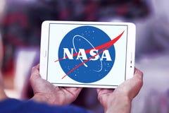 Nasa space agency logo. Logo of nasa space agency on samsung tablet Stock Photos