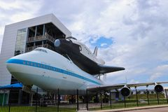 HOUSTON, TEXAS, USA - JUNE 9, 2018: The NASA Space Shuttle Independence and Shuttle Carrier Aircraft at Space Center Houston. stock images