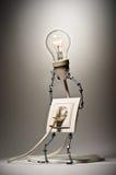 Nasadka trzyma płonącą lampę ilustracji
