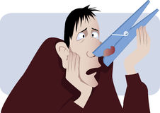 Nasal congestion. Man with a giant clothespin pinched on his nose as a metaphor for a stuffy nose, vector illustration, no transparencies, EPS 8 Royalty Free Stock Photos