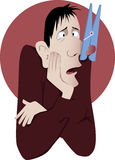 Nasal congestion. Man suffers from common cold or allergies with a giant clothespin on his nose, vector cartoon, no transparencies, EPS 8 Stock Image
