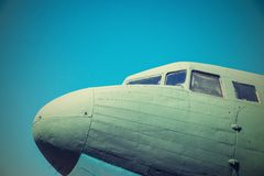 Nasal part a fuselage of the old plane Royalty Free Stock Photos