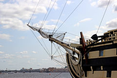 Nasal part of a sailing ship on the Neva River in St. Petersburg Royalty Free Stock Photo