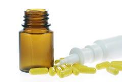 Nasal spray and capsules Stock Photo