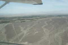The Nasca Lines in Peru. An aerial shot of the Nasca Lines just in Peru, south america royalty free stock images