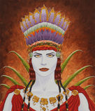 Nasca Woman. Fantasy-Portrait of a woman wearing a feathered headdress in the style of the Nasca, and ancient south-american indian people. This artwork was Royalty Free Stock Images