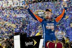 NASCAR: Apr 30 Kyle Busch (18). RICHMOND, VA - APR 30, 2011: Kyle Busch (18) wins the Matthew and Daniel Hansen 400 presented by Crown Royal at the Richmond stock photography