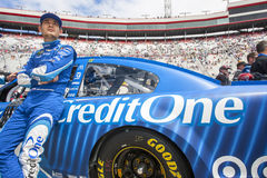 NASCAR: April 24 Food City 500. April 24, 2017 - Bristol, Tennessee , USA: Kyle Larson 42 watches practice as teams take to the track for the Food City 500 at Royalty Free Stock Photos