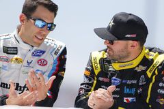 NASCAR: April 30 Toyota Owners 400. April 30, 2017 - Richmond, Virginia, USA: Paul Menard 27 and Aric Almirola 43 head to their cars for the Toyota Owners 400 at Stock Image