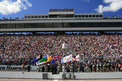 NASCAR and the Armed Services. Color guard and flag bearers from the Armed Services during pre-race activities before the start of the 2007 NASCAR Race for the Stock Photo