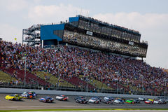 NASCAR:  Aug 15 Carfax 250. 15 August, 2009:  The field takes the green flag at Michigan International Speedway during the running of the Carfax 250 in Brooklyn Stock Image