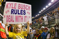NASCAR:  Aug 21 Irwin Tools Night Race. Bristol, TN - AUG 21, 2010:  5 year old Harper Stiner from Jacksboro, TN shows her support for Kyle Busch as he makes Royalty Free Stock Photos