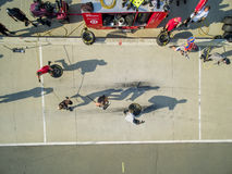 NASCAR:  Aug 04 Pit Practice. Concord, NC - Aug 04, 2015:  The Chip Ganassi Racing teams practice their pit stops at  Chip Ganassi Racing Headquarters in Concord Royalty Free Stock Photo