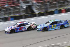 NASCAR: August 12 Consumers Energy 400. August 12, 2018 - Brooklyn, Michigan, USA: Ricky Stenhouse, Jr 17 and AJ Allmendinger 47 battle for position during the stock photo