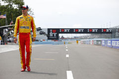 NASCAR: August 06 I LOVE NY 355. August 06, 2017 - Watkins Glen, New York, USA: Joey Logano 22 hangs out on pit road prior to qualifying for the I LOVE NY 355 at royalty free stock photography