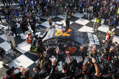 NASCAR: August 06 I LOVE NY 355. August 06, 2017 - Watkins Glen, New York, USA: Martin Truex Jr. 78 celebrates after winning the I LOVE NY 355 at Watkins Glen royalty free stock photos