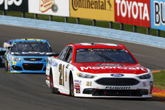 NASCAR: August 06 I LOVE NY 355. August 06, 2017 - Watkins Glen, New York, USA: Ryan Blaney 21 battles for position during the I LOVE NY 355 at Watkins Glen stock image