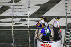 NASCAR blue-yellow flag out. NASCAR Bank of America race 10-11-14 and the blue flag is out Stock Image