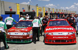 NASCAR - Busy Garage Area! Stock Photo