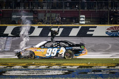 NASCAR: Carl Edwards Back Flip. CONCORD, NC - MAY 21, 2011: Carl Edwards wins the All-Star Race at the Charlotte Motor Speedway in Concord, NC stock images