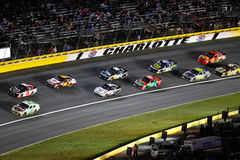 NASCAR - Cars In Turn 1 At Charlotte Royalty Free Stock Photos