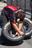 NASCAR - Checking Tires Pre Race Royalty Free Stock Image