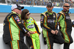 NASCAR Danica Patrick at Phoenix International Raceway. Danica Patrick leans against the pit wall with the boys Royalty Free Stock Photos