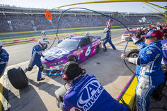 NASCAR: Dec 31 Coca-Cola 600. Concord, NC - Dec 31, 2015: Trevor Bayne (6) brings his race car in for service during the Coca-Cola 600 race at the Charlotte stock image