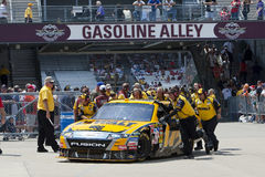 NASCAR:  DeWalt Ford Allstate 400 at the Brickyard. 24 July, 2009:  Matt Kenseth brings his DeWalt Ford into the garage area during the first practice for the Royalty Free Stock Photo