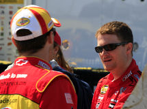 NASCAR drivers Dale Earnhardt. Dale Earnhardt Jr meet Kevin Harvick in the garage area before heading out for practice before the first race of the 2007 Chase Stock Images