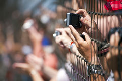 NASCAR:  Fans Allstate 400 at the Brickyard. 25 July, 2009:  Fans try to catch a glimpse of their favorite drivers during qualifying at the Allstate 400 at the Stock Images