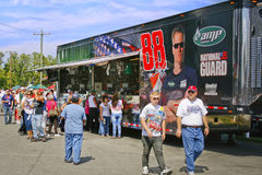 NASCAR - Fans at Earnhardt's Mechandise Hauler. Fans outside the track at Dale Earnhardt Jr's merchandise hauler before during 2010 NASCAR Air Guard 400 at Royalty Free Stock Photos