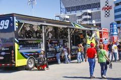 NASCAR - Fans at Edwards Souvenir Trailer stock photography
