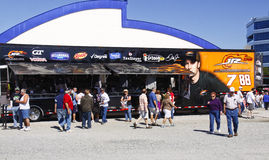 NASCAR - Fans JR Motorsports Trailer Royalty Free Stock Photos