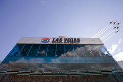 NASCAR: February 28 Shelby American GT 350. Las Vegas, NV - February 28, 2010: The Air Force Thunderbirds aerobatic team performs a flyover before the running of royalty free stock image