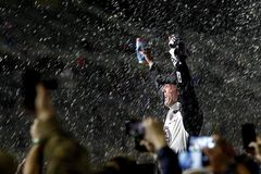 NASCAR: February 25 Folds of Honor QuikTrip 500. February 25, 2018 - Hampton, Georgia, USA: Kevin Harvick 4 takes the checkered flag after winning the Folds of royalty free stock photography