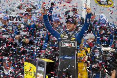 NASCAR: Jimmie Johnson wins the Daytona 500. Daytona Beach, FL - Feb 24, 2013: Jimmie Johnson (48) wins the Daytona 500 at Daytona International Speedway in Royalty Free Stock Image