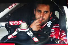 NASCAR: Juan Pablo Montoya. CONCORD, NC - MAY 26, 2011: Juan Pablo Montoya prepares to take to the track for a Coca-Cola 600 practice session at the Charlotte stock photo