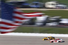NASCAR: June 17 Iowa 250. June 17, 2018 - Newton, Iowa, USA: Daniel Hemric 21 and Christopher Bell 20 battle for position during the Iowa 250 at Iowa Speedway in royalty free stock photo