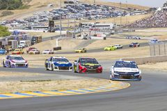 NASCAR: June 24 TOYOTA/SAVE MART 350. June 24, 2018 - Sonoma, California , USA: Kyle Larson 42 Races through turn ten at the TOYOTA/SAVE MART 350 at Sonoma Royalty Free Stock Photo