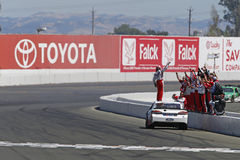 NASCAR: June 25 Toyota/Save Mart 350. June 25, 2017 - Sonoma, CA, USA: Kevin Harvick 4 does a burnout in front of his crew after he wins the Toyota/Save Mart 350 Stock Image