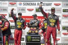 NASCAR: June 24 TOYOTA/SAVE MART 350. June 24, 2018 - Sonoma, California , USA: Martin Truex, Jr 78 wins the TOYOTA/SAVE MART 350 at Sonoma Raceway in Sonoma Royalty Free Stock Photo