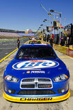 NASCAR - Keselowski's #2 Miller Lite Car Portrait. A tight front view of up and coming NASCAR star Brad Keselowski's #2 Miller Lite Dodge Charger Sprint Cup car Royalty Free Stock Image