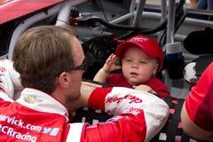NASCAR Kevin Harvick at Phoenix International Raceway. Kevin Harvick and his son, Keelan Royalty Free Stock Images