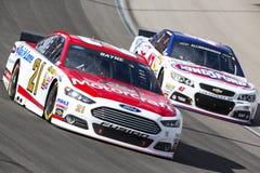 NASCAR: Mar 09 Las Vegas Motor Speedway. Las Vegas , NV - Mar 09, 2014: Trevor Bayne (21) battles for position during the Kobalt Tools 400 race at the Las Vegas stock image