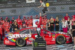 NASCAR: March 10 Ticket Guardian 500. March 10, 2019 - Avondale, Arizona, USA: Kyle Busch (18) wins the Ticket Guardian 500 at ISM Raceway in Avondale, Arizona stock photo