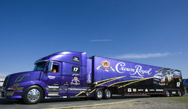 NASCAR: May 27 Coca-Cola 600. CONCORD, NC - May 27, 2010: The Crown Royal hauler pulls in to the track for the Coca-Cola 600 Race at the Charlotte Motor Speedway royalty free stock images