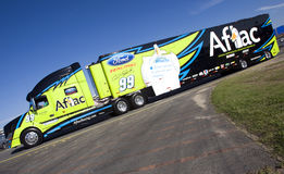 NASCAR: May 27 Coca-Cola 600. CONCORD, NC - May 27, 2010: The No. 99 Alfac hauler pulls in to the track for the Coca-Cola 600 Race at the Charlotte Motor stock image