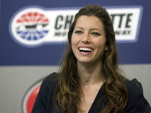 NASCAR: May 30 Coca-Cola 600. CONCORD, NC - May 30, 2010: Jessica Biel, actress from the new movie The A-Team, during a press conference before the Coca-Cola 600 stock images