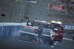 NASCAR: May 26 Coca-Cola 600. May 26, 2019 - Concord, North Carolina, USA: Erik Jones 20 wrecks off turn four during the Coca-Cola 600 at Charlotte Motor stock images